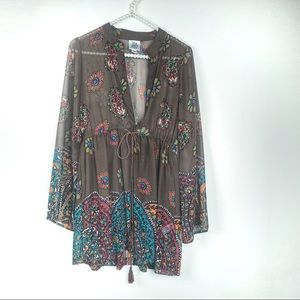 Ivy Jane tunic XS brown floral baby doll sheer
